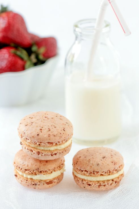 Powdered Strawberry and Vanilla Bean Macarons.  This recipe has you dry  your own strawberries, but it would be so much easier to use Freeze Dried.