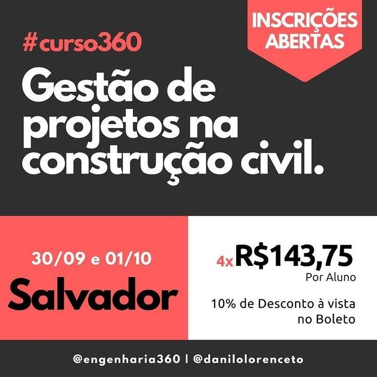 Quer se destacar no mercado de trabalho? Inscreva-se agora no nosso curso Gestão de Projetos na Construção Civil que acontecerá em Salvador dia 30/09 e 01/10.   Link para inscrição está em nossa BIO