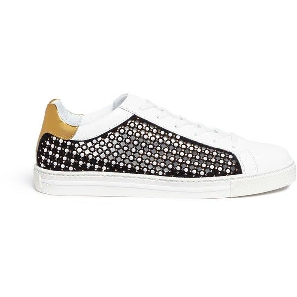 René Caovilla Faux pearl strass embellished cutout suede sneakers (5,375  CNY) ❤ liked on