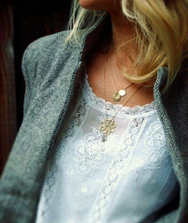 Lace blouse and layered necklaces