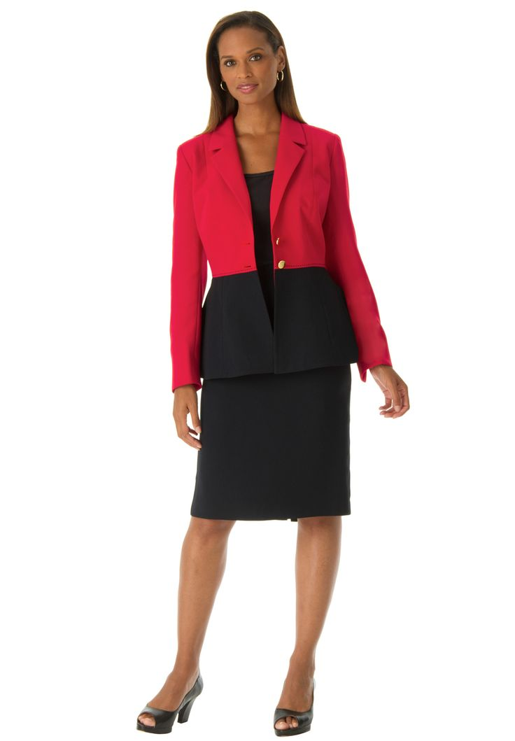 Colorblock Peplum Jacket and Skirt | #plussize | Jessica London | YP!