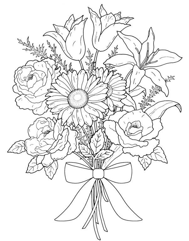 Flower Bouquet Line Drawing : Floral bouquets coloring book pages first