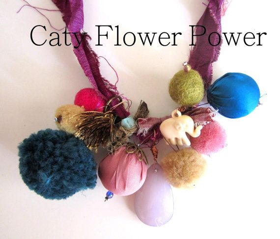Christmas Necklace Gift Colourful Fabric by catyflowerpower