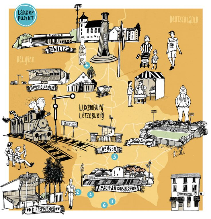 Illustration Länderpunkt Luxembourg - Diana Koehne - Map of Luxembourg