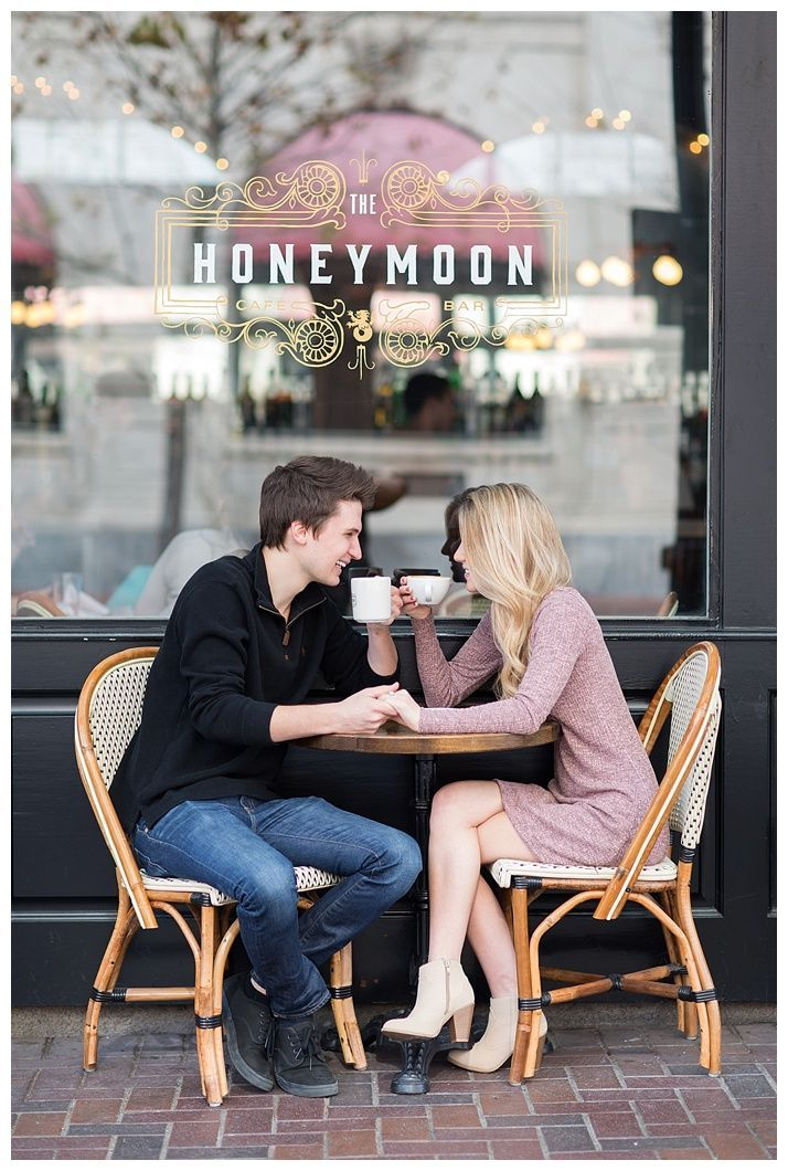 romantic coffee shop downtown houston engagement session