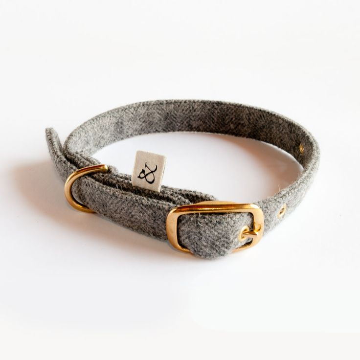 dog natural collars, urban wool collar, Wool & Dogs, this elegant embossed grey collar is the ideal complement for your dog.
