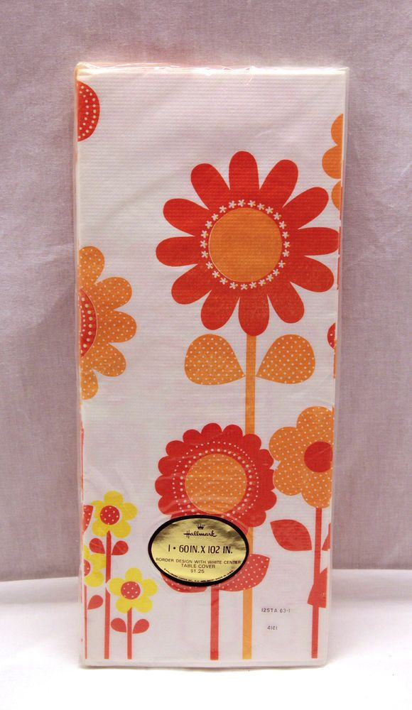 Vintage hallmark orange flower paper tablecloth retro mod Hallmark flowers