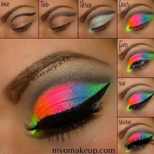 Seven simple steps to get neon, rainbow eye shadow.