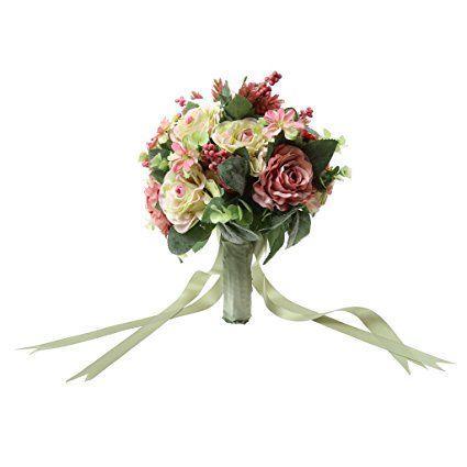 Bouquet de Mariée Fleur Rose Artificielle Décoration de Mariage - # 4