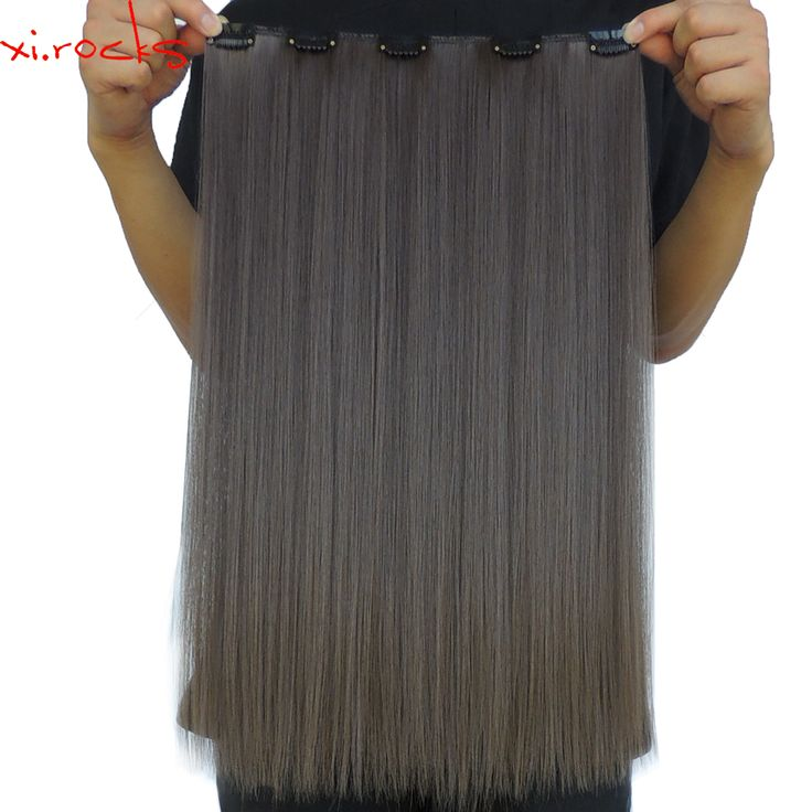 5 Piece/Lot Xi.rocks Clips for the Hair Extensions 50cm Synthetic Hair Extension 50g Straight Clip in Hairpiece Rust Brown 8A