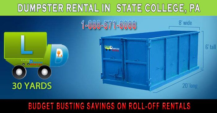 State College, PA at Easy Dumpster Rental Dumpster Rental in State College, PA Budget Busting Savings On Roll-Off Rentals Click To Call 1-888-792-7833Click For Email Quote Rolloff-Dumpsters To Help Reorganize Your Life In State College: Often times we delay tackling problems like a garage so overfilled with junk we can't even find ... https://easydumpsterrental.com/pennsylvania/dumpster-rental-state-college-pa/
