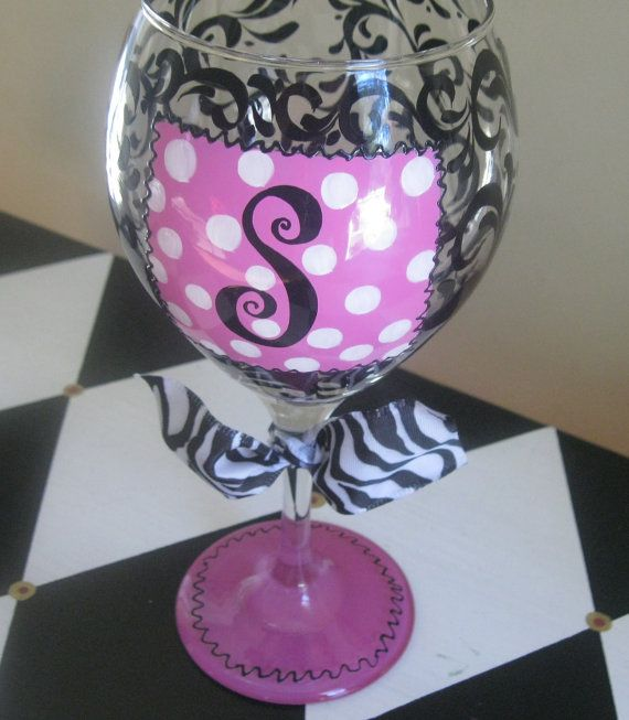 Hand painted personalized wine glass initial scrolls for Painted wine glasses with initials