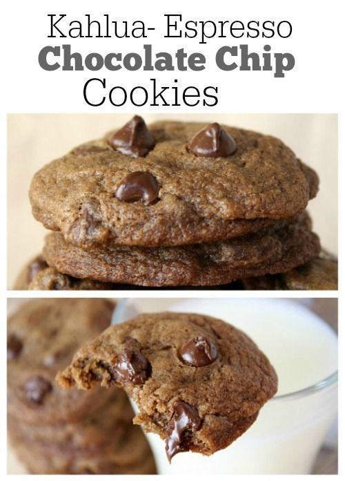 Kahlua- Espresso Chocolate Chip Cookies Recipe : a favorite cookie recipe from RecipeGirl.com