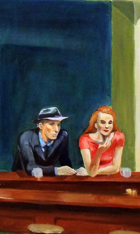 Edward Hopper | Nighthawks (detail), 1942.  The red-haired woman was actually modeled by the artist's wife, Jo.