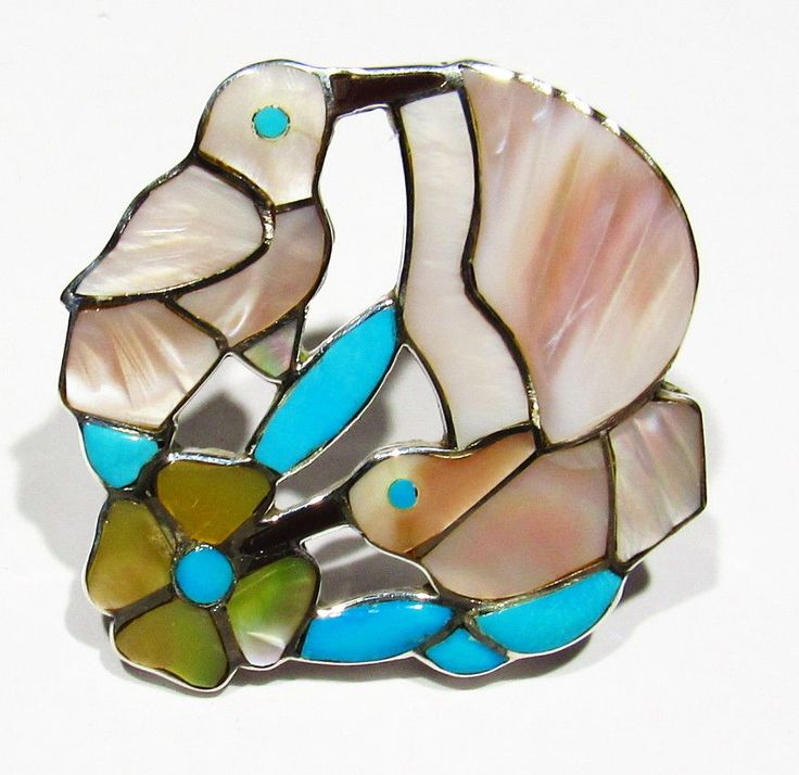 BIG Signed Zuni Pink Mother Pearl Turquoise 925 Silver Hummingbird Pendant Pin
