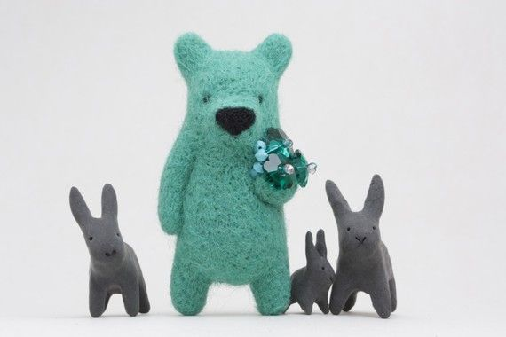 felt bear with rabbit friends