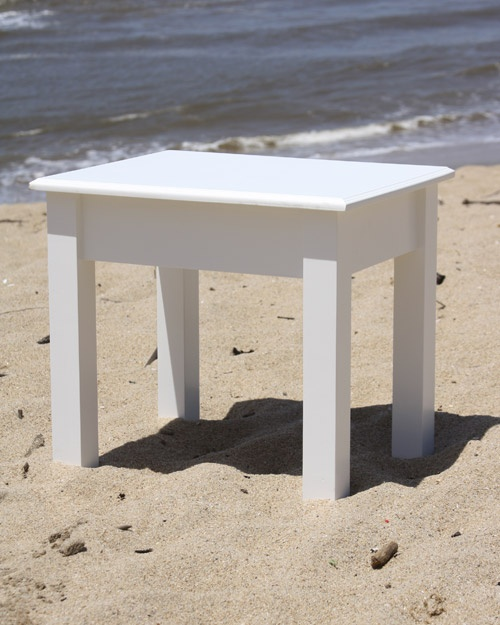 Dressing table stool plain solid clear pine painted white – 500 x 400 x 450 high