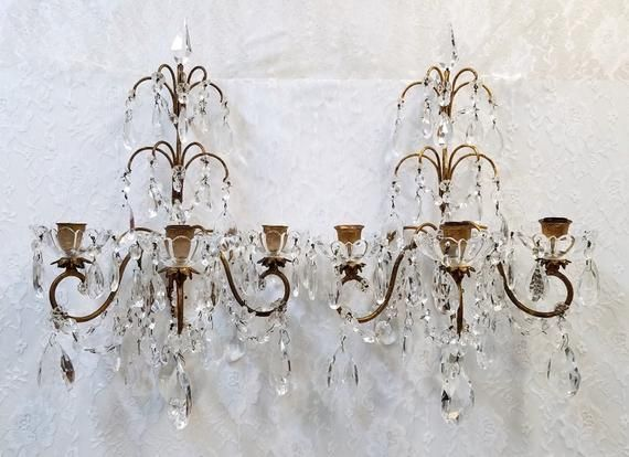 Antique French Crystal Candle Sconce Pair Italian
