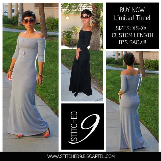 COLORS: GREYLENGTH: 46 inches from waist to floor. CUSTOM OPTION: Length of dress can be made longer or shorter, for options add a note to seller at checkout and we will contact you after purchase.DESCRIPTION: Gorgeous form fitting off the shoulder maxi dress.FABRIC:Rayon Stretch Knit (This fabric has a nice amount of stretch, it is soft and drapes really well....
