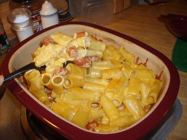 Baked Lil  Smokies N Homemade Mac-N-Cheese from Food.com:   								This is a great kid-pleasing meal. You can make it ahead and refrigerate it until you are ready to pop it into the oven. I actually came up with this one day when I realized I had to make a pack of smokies or throw them out (But alas, no other ingredients on hand). So I just took my mom-taught homemade mac and cheese recipe and added smokies.
