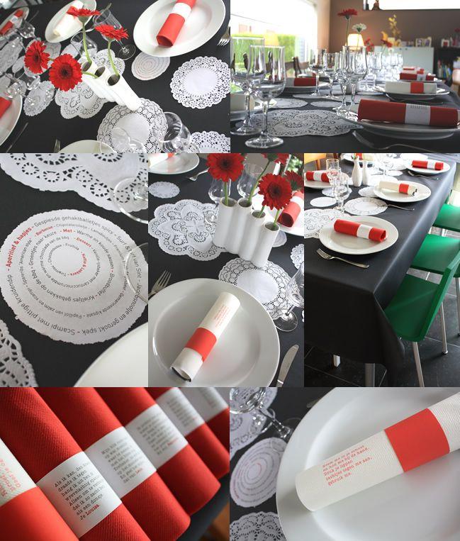 Tafeldecoratie wit, zwart en rood