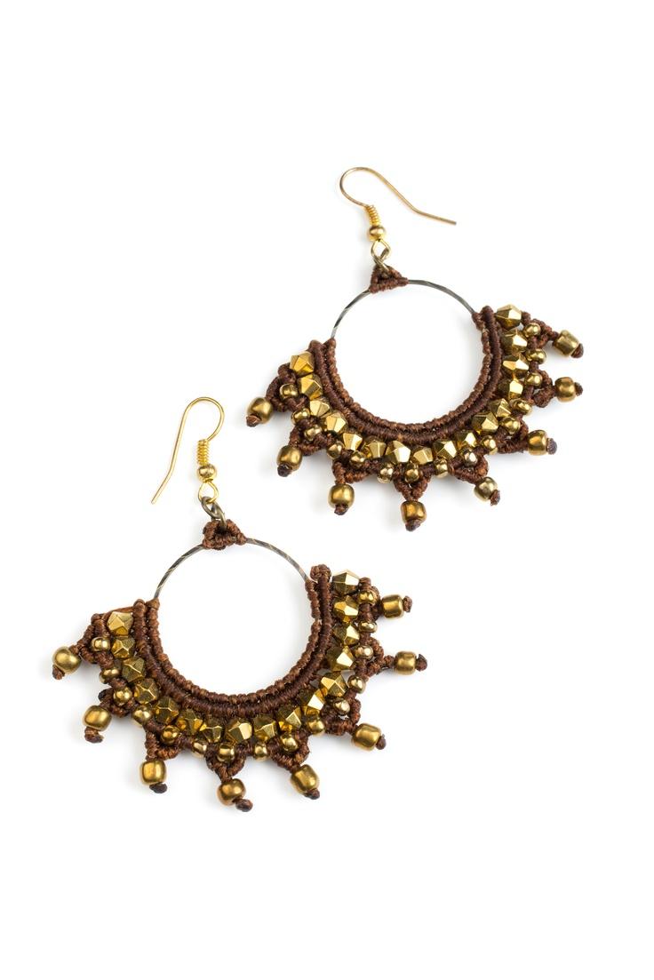 Hoop shiny star earrings- very india   handmade macrame   * photo by michael topyol