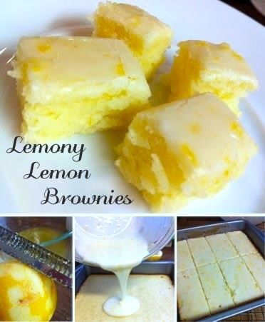 Facebook PinterestOh this looks yummy, and a springy twist on Brownies! Save (share) to your own page if you want to find easily again. Recipe from: beckycharms.com Lemony Lemon Brownies Ingredients: 3/4 cup all-purpose flour {King Arthur All-Purpose Flour} 3/4 cup granulated sugar 1/4 teaspoon salt {Sea Salt} 1/2 cup (1 stick) unsalted butter, softened 2 large eggs 2 tablespoons lemon zest 2 tablespoons lemon juice For the tart lemon glaze: 4 tbsps lemon juice 8 tsps lemon zest 1 cup icing…