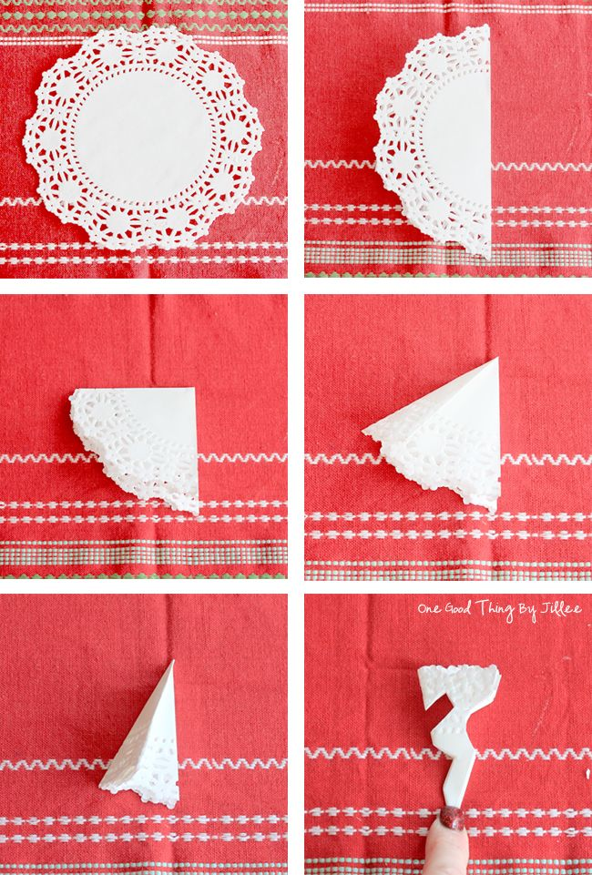 snowflakes from paper doilies