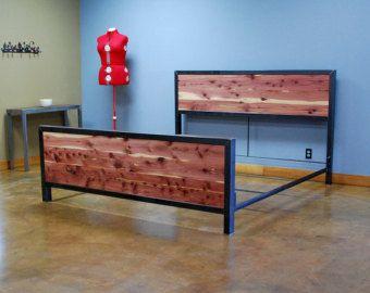 Kraftig plataforma cama con cabecero de nogal por deliafurniture