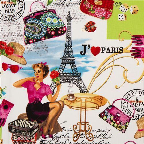 retro I love Paris fabric by Timeless Treasures