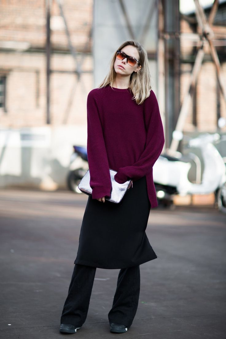 @Ivanamartyn by @Bloggers_boyfriend at #MBFWA15  Follow us on Snapchat: BloggersBF for #MBFWA16 exclusive backstages and street-styles during May 2016.  WHO @Ivanamartyn  WEAR burgundy sweater with ribbed details   WHAT Mercedes-Benz Fashion Week Sydney 2015  WHEN Monday, 13 April 2015 at 3:48PM  STYLE Models Off Duty, relaxed minimal, Parisian chic   Photo by Bloggers Boyfriend