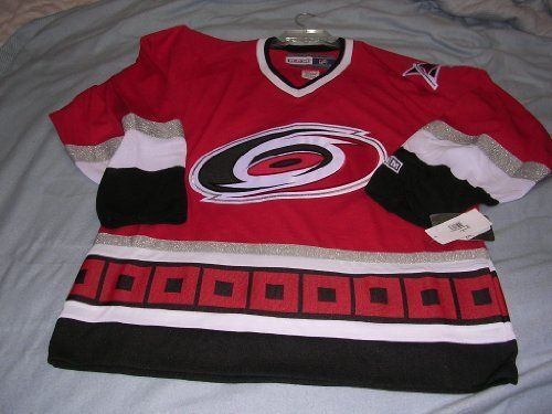 Carolina Hurricanes Hockey Jersey (red, large) by CCM. Save 71 Off!. $42.99. Chest and shoulder crests (where applicable) feature a combination of embroidery and appliqué twill  CCM embroidered patch on back