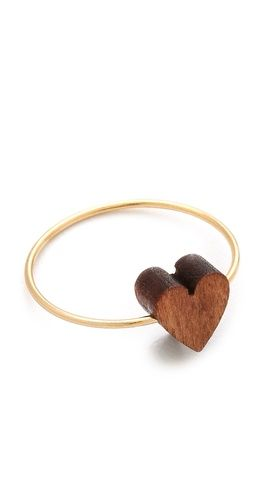Wooden heart ring