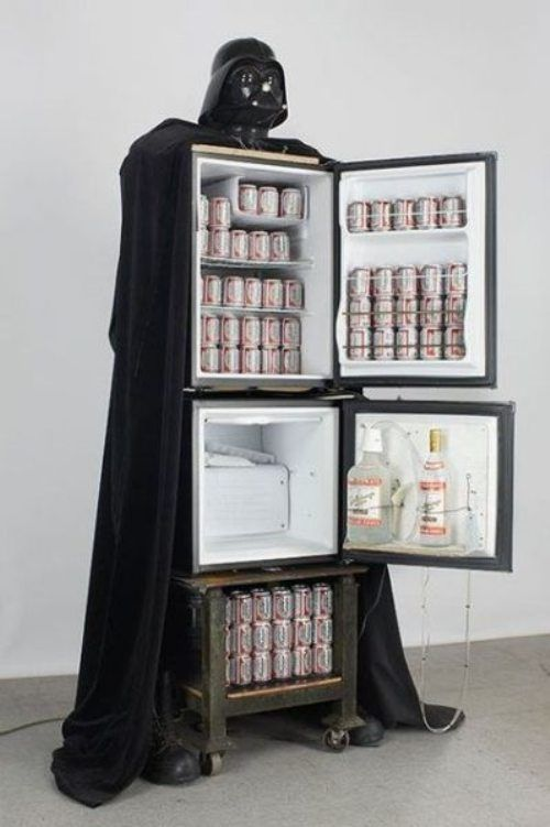 Best Beer Fridge Ever!  #star #wars #darth #vader #beer #glasses #bar #alcohol #party #men #guys #boys #bachelor #wedding #fun #funny #cute #drink #drinks #fridge #coke