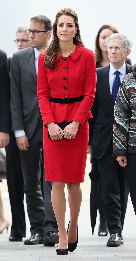 Kate Middleton Is the Lady in Red Once Again: Kate Middleton looked radiant in red on Monday in Christchurch, New Zealand, where she and Prince William were greeted by the city's mayor and the elder members of the Ngai Tahu tribe.