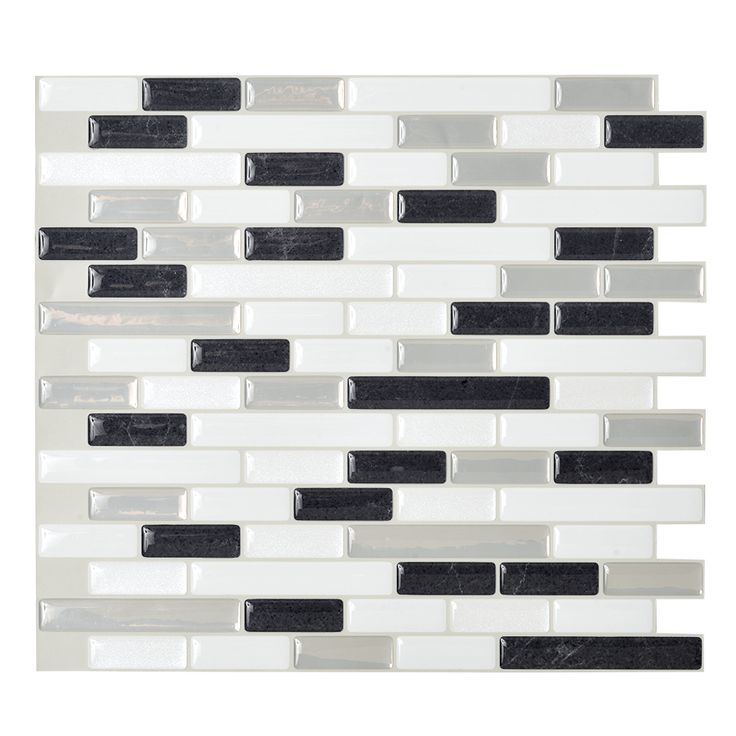 Shop Smart Tiles 6-Pack White Glossy Composite Vinyl Mosaic Linear Peel-And-Stick Wall Tile (Common: 10-in x 10-in; Actual: 9.1-in x 10.2-in) at Lowes.com. check the store first!