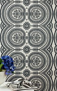 """""""Lace, Beaded Black"""" a new wallpaper from Jocelyn Warner, a British textile and wallpaper designer for Stark Wallcovering."""