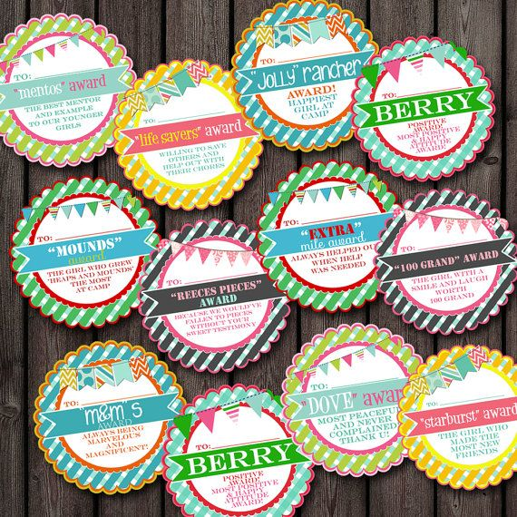 girls camp awards tags candy awards tags by AmysSimpleDesigns, $7.99