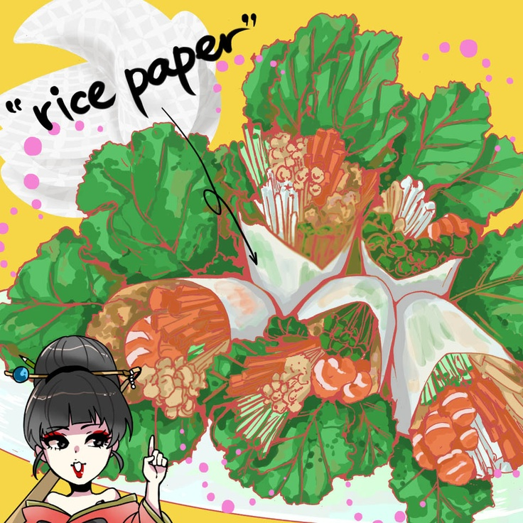 rice paper transformed into yummy fresh spring rolls in Japanese manga style.