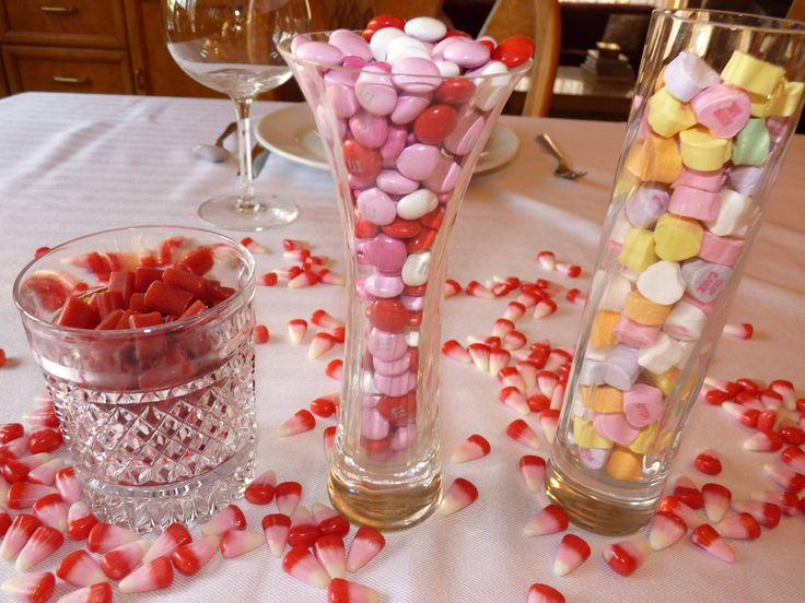Lovely Valentines Table Decoration Ideas With Beautiful Simple Candy In  Glass DIY Table Centerpiece For Lovely Valentine Table Decoration Design  Ideas