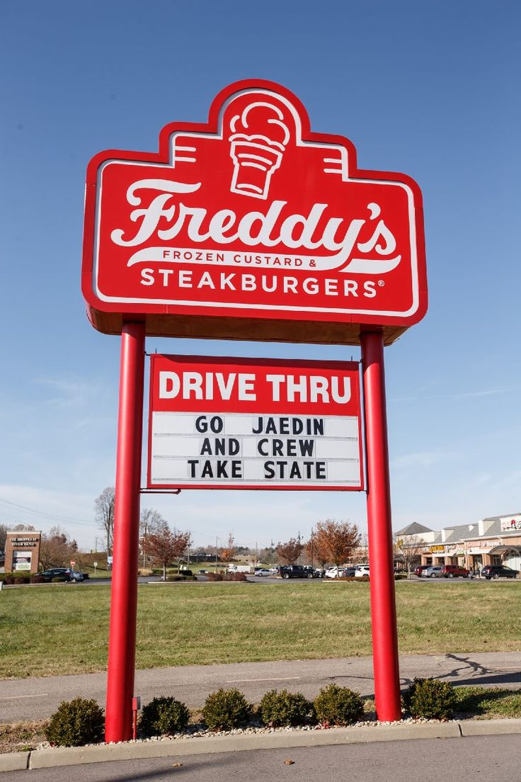 Fans and local businesses are showing their support for the Columbus East football team heading into Friday's 5A state championship game against Kokomo. Freddy's Frozen Custard & Steakburgers, located at 3660 W. Jonathan Moore Pike, displayed a message outside the store for one of its employees, Jaedin Miller, and the East football team that read