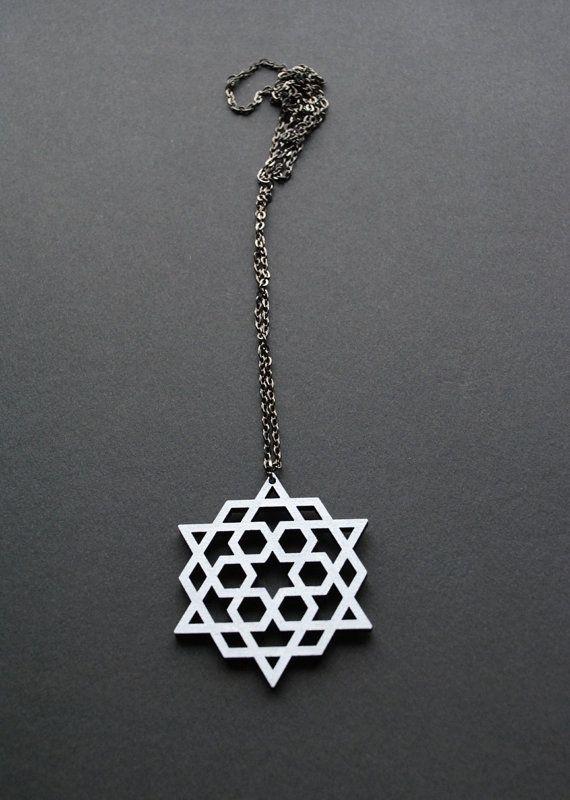 Star necklace painted wood pendant arabic motif by elfinadesign