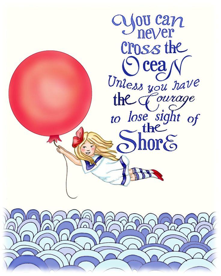 Nautical Nursery Art, Red balloon girl Archival art print 11x14 ocean decor. $30.00, via Etsy.