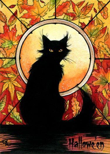 Autumnal black cat