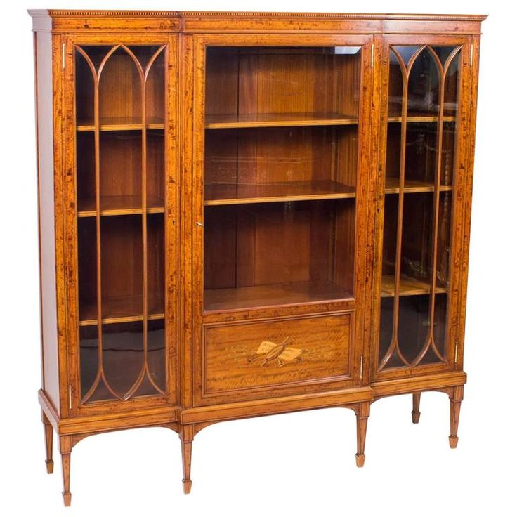 Antique Victorian Satinwood and Marquetry Display Cabinet, circa 1880 | From a unique collection of antique and modern cabinets at https://www.1stdibs.com/furniture/storage-case-pieces/cabinets/