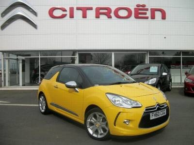 Possibly one of the sauciest Yellow Cars on the road in 2012 2011 Citroen DS3 1.6 HDi 16V DStyle Diesel Hatch
