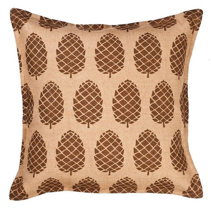 Greendale Home Fashions Pinecone Burlap Throw Pillow, Brown