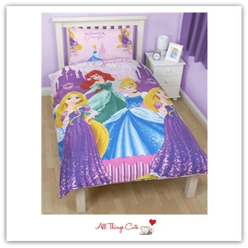 Disney Princess Sparkle Single Duvet Quilt Cover Reversible Also Available In Double Size