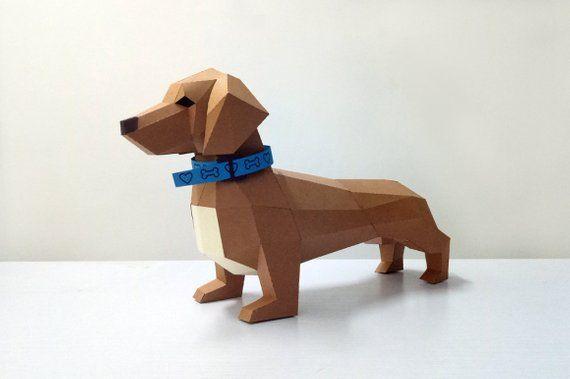 DIY Dachshund Puppy, Animal Model, 3d Papercraft, lowpoly ,3d model
