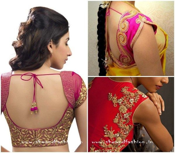Golden Thread Work Bridal blouse images for silk sarees